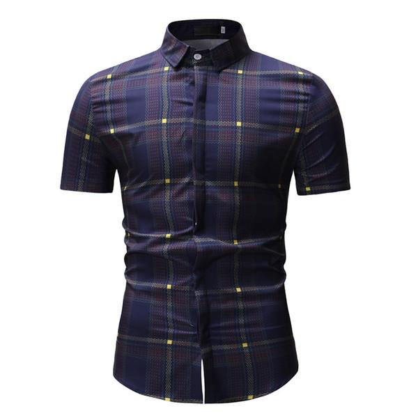 YOUYEDIAN Con estilo para hombre camisa a cuadros de primavera impresa ocasional de manga corta camisas delgadas hombres camisa de algodón suave más tamaño camiseta mascu