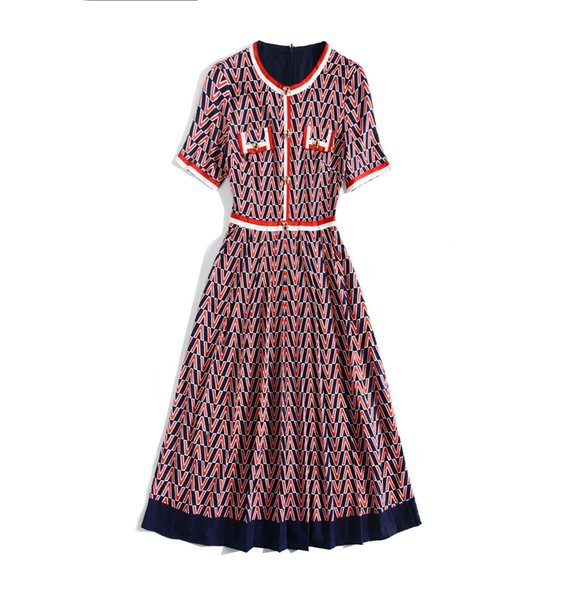 2019 Spring Summer Short Sleeve Crew Neck Fashion Print Patchwork Mid-Calf Length Dress Luxury Runway Dresses MAY072115