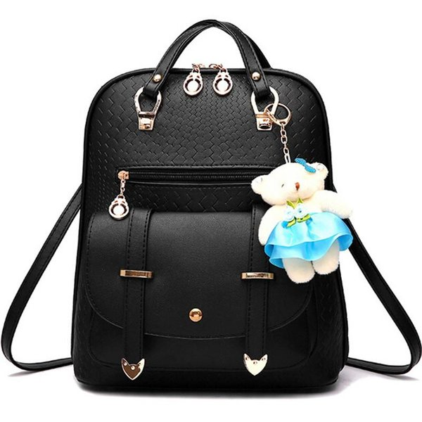 Vogue Star New Casual Girls Backpack PU Leather Fashion Women Backpack School Travel Bag With Bear Doll For Teenagers LA148