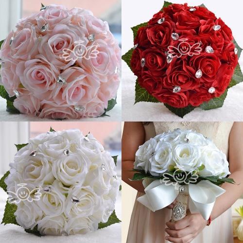 Free Ship WF038 White Pink Red Elegant Bridal Wedding Bouquet Pearls Silk Flower Rose Crystals Cheap Wedding Decoration Bridesmaid Bouquet
