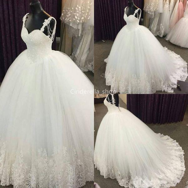Vestidos de novia de tul vestidos de bola de la princesa 2019 spaghetti apliques de encaje con lentejuelas vestidos de novia más el tamaño personalizado vestido de novia