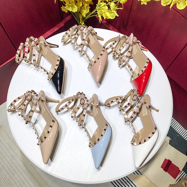 Original Box classic black and Nude women Brand High Heels Patent Leather Pointy Toe Dress Shoes Shallow Mouth Red Sole Wedding Shoes 40-42
