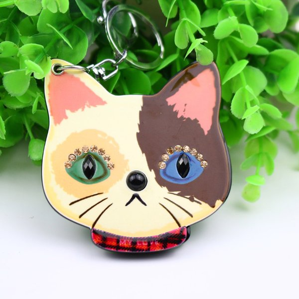 cat rhinestone compact keychain mirror great for travel or home use key ring promotion gifts unique design bag car accessores keyholders