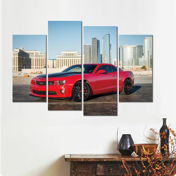 4 sets chevrolet camaro red canvas print arts pictures for dining room decor