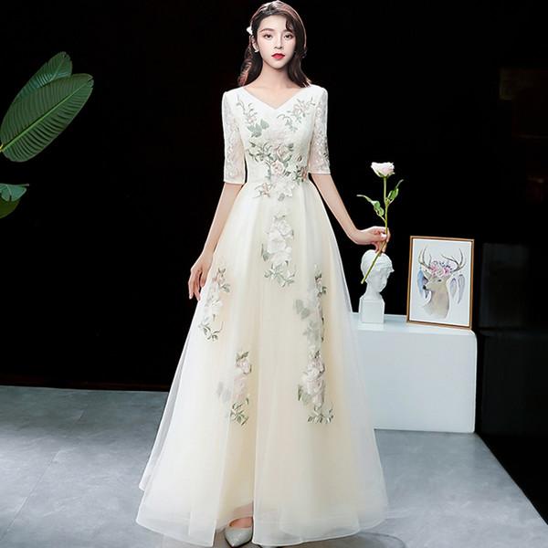 Em estoque V-Neck Tulle com bordado piso Lenth Abiye gece elbisesi Robe sarau vestido de noite vestido de noite vestido de festa Serene hill
