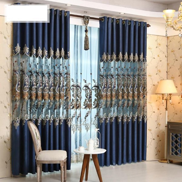 Living room floor to ceiling windows luxury pearl velvet curtain European style stitching gold silk embroidery gauze finished products