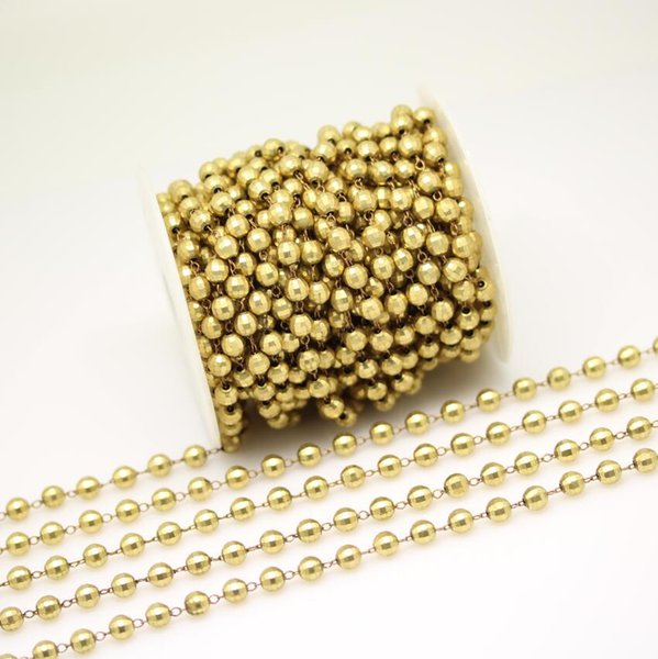 Golden Plated Cooper Faceted Round Shape Beads Chains,Wire Wrapped Brass Plated Links Jewelry.6mm