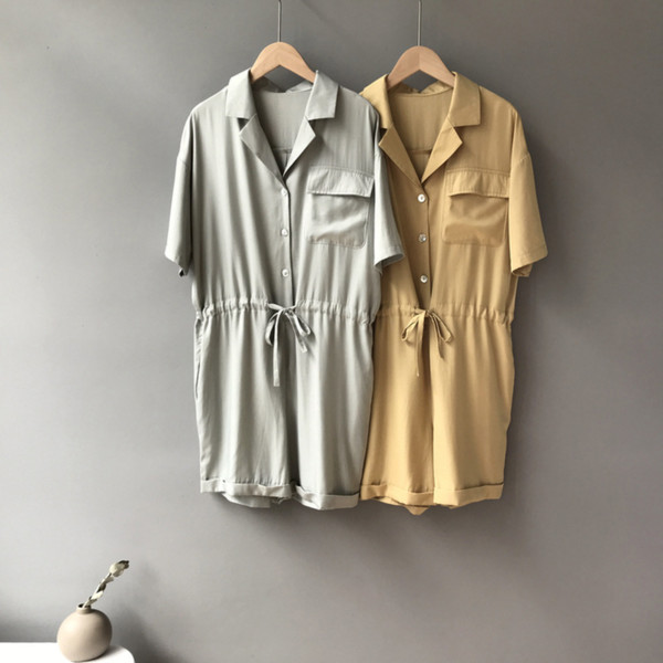 summer 2019 new women's korean version solid casual short-sleeved playsuits straight barrel simple mid-waist shorts jumpsuits