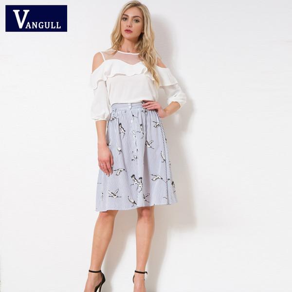 69aa31efe1 Faldas a rayas hasta las rodillas de las mujeres Vangull Nuevos pájaros  dulces Estampado abierto de grúa botones de diseño de verano ropa informal  de calle