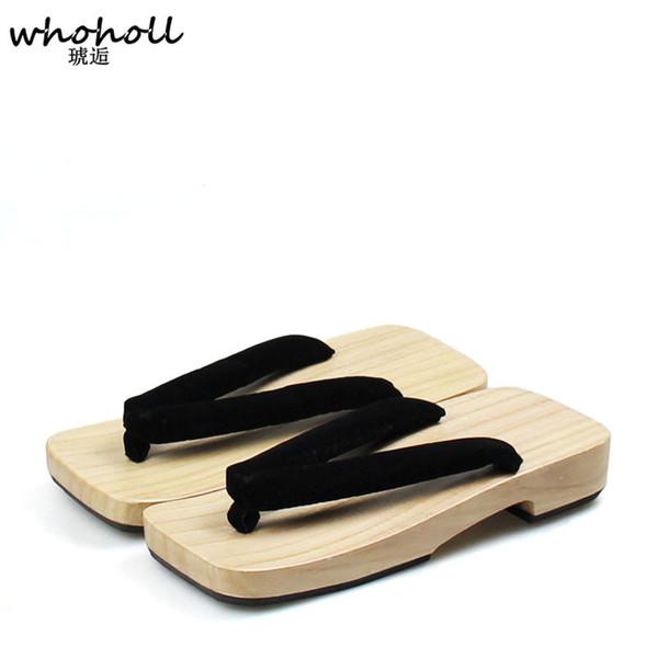 Whoholl Geta Summer Sandals Man Japanese Geta Cosplay Cosutmes Wooden Shoes Slippers Man Clogs Flip-flops Men Flats Sandals