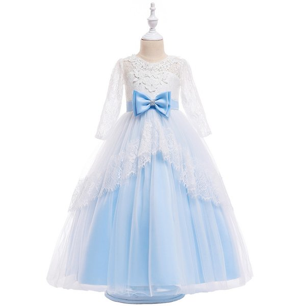 Open Back Long Lace Girl Dresses Princess Dresses Cotton Blends Skirt With Big Bow On the Waist