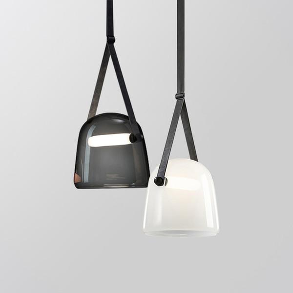 Postmodern creative glass living room chandelier art leather bedside bedroom living room designer model room chandelier