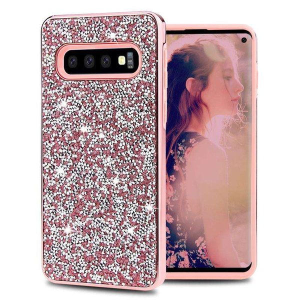 For Samsung Note 10 Pro S10 E PLUS 5G J7 J3 2018 2019 Glitter Bling Sparkly Crystal Rhinestone Diamond Shockproof Protective Cover Case