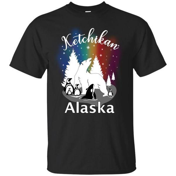 Ketchikan Alaska Aurora Borealis Bear Orca Black, Navy T-Shirt Design Funny free shipping Unisex Tshirt top