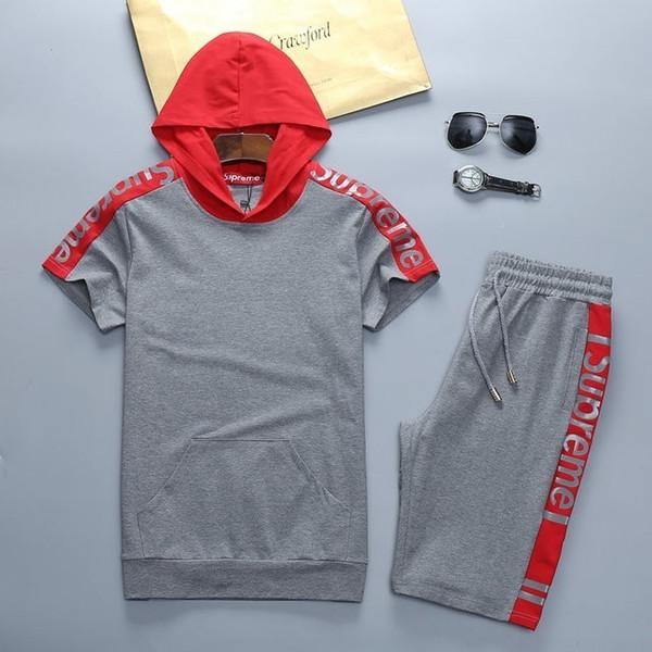 2019 New Pattern Man Tuta Manica Corta T-Shirt E Shorts Ricamo Sport Tempo libero Suit 309 #