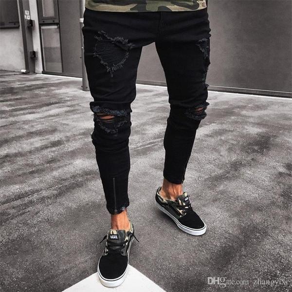 Модные рваные джинсы мужские брюки узкие тонкие прямые джинсовые мужские джинсы с нижней части молнии Новые стильные брюки-карандаш мужские одежды