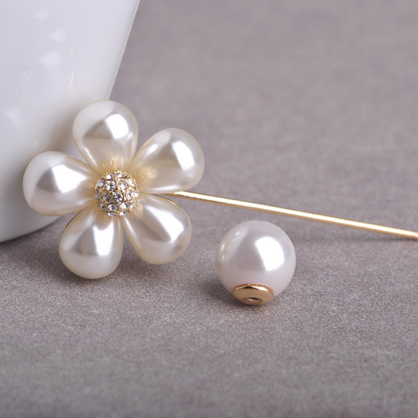 2019 Wedding Blucome Imitation Pearl Flower Wedding Pin For Suit Gold Color  Elegant Lapel Pins Women Boutonniere Stick Brooch Joyeria From Yan234,