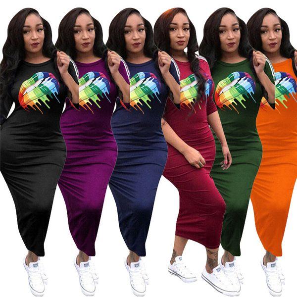 Designer Women Abito elegante Labbra arcobaleno Stampa Maxi Abiti lunghi aderenti Gonne attillate Manica corta Tute skinny Body panno C73104