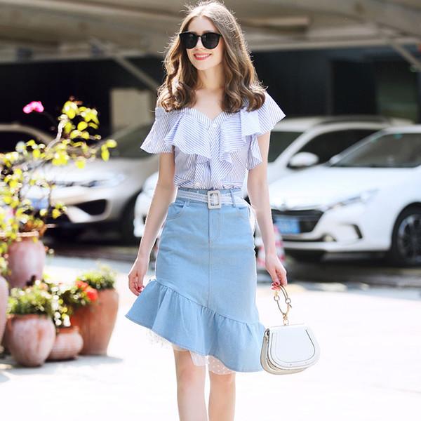 496a6c51f817 семья RMOJUL 2019 летняя одежда женская одежда новая полосатая рубашка с  плеча + костюм юбка бюст