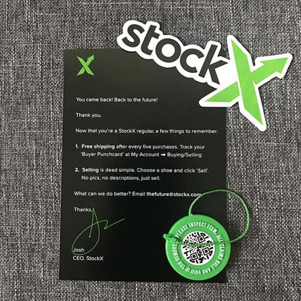 Stockx Store Scarpe Stock X Tag circolari verdi Adesivi Rcode Papper Fibbia in plastica Verificato X Autentico tag verde al dettaglio all'ingrosso