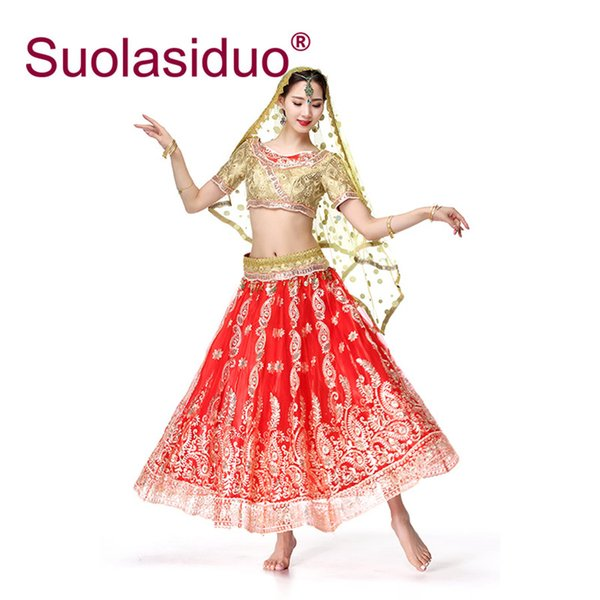 Red Professional Belly Dance Costume 2019 New Arrival Indian Saree Costume Female Bollywood Dance Performance Outfit Suit