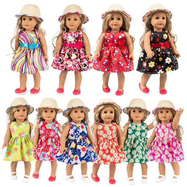18 inch Doll Skirt Hat Mesh Pleated Skirt one piece dress Summer American Girl Doll Cloth for 18 inch American Girl