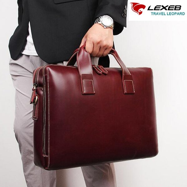 LEXEB Portfolio Brand Men's Briefcase Solid Leather Male Bag Day Work Messenger Bags Attached 15.6 Inches Laptop Case WIne #182225