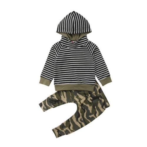 2pcs 0-3t newborn toddler baby boy girl hooded striped sweatshirt +camo pants outfits set clothes costumes thumbnail