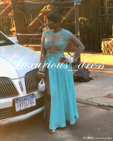 Plus Size Light Sky Blue Prom Dresses African Girls Sheer Long Sleeves Applique Sequins High Slit Evening Gowns Floor Length Bridesmaid Gown