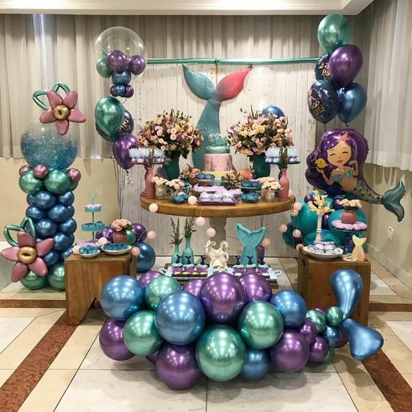 Compre Bolas De Cromo Globos Metálicos La Sirenita Ariel Decoraciones Para Fiestas De Cumpleaños Suministros Para Niños Niña Niño Conjuntos De Globos