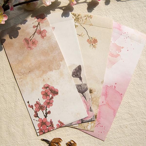 3 PCS / PACK w16 Aquarelle Encre Dessin Fleurs Belle w44 e26 w57 Pour Carte D'invitation Enfants sl1109 Enveloppe De Stockage