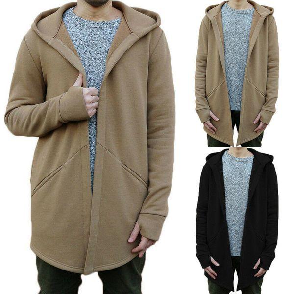 Men's British Casua Hooded Cardigan Long Sleeve Slim Pullover Jacket Coat Top Men's Hooded Solid Color Jacket