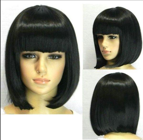 WIG Hot Vogue Bang short Straight mujer dama niña pelucas color negro