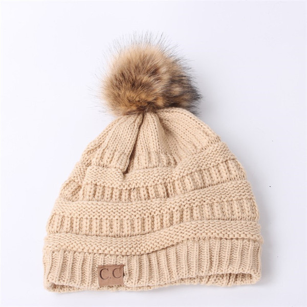 Girls CC Beanie Hat with Ball Women Knitted CC Trendy Hats Crochet CC Beanie Hats for Women Winter Hats Casual Wool Cap