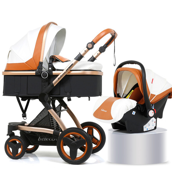 best selling High Landscape Newborns 3 in 1 Baby Stroller With Car Seat Belecoo Travel System PU Aluminum Alloy Stroller With Pram