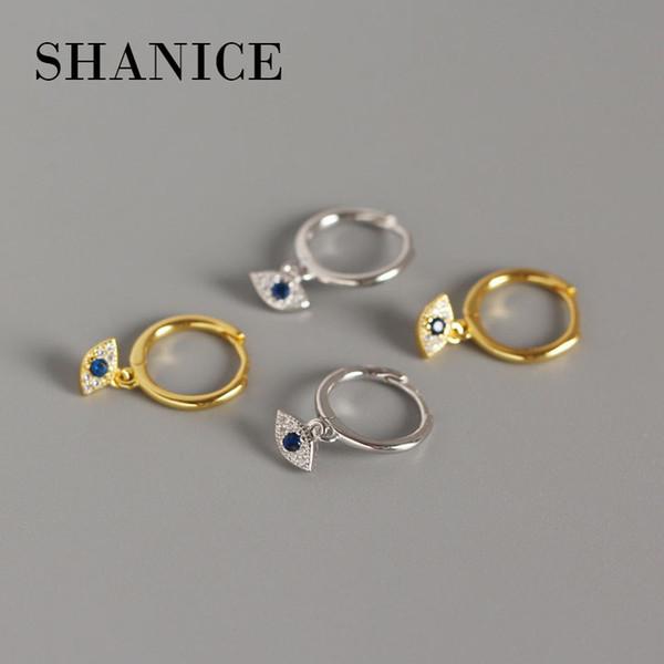 shanice 100% 925 sterling silver punk cool ins retro blue eyes open hoop earrings cubic zirconia spike earring for women jewelry