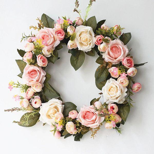 Künstliche Pfingstrosen-Blumen-Kranz Silk künstliche Garland Tür Hochzeit hängende Wand Fensterdekoration
