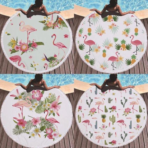 Toalla de playa redonda con borla Flamingo de microfibra Nueva Toalla de baño redonda personalizada de piña Logotipo personalizado manta de playa 15styles caliente