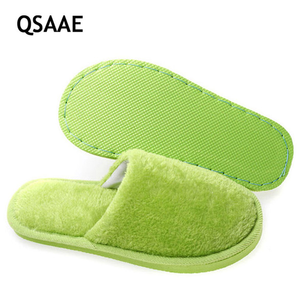 2019 Lovers Slippers Men Solid Soft Warm Indoor Slippers Women Pantufa Flock Home Shoes Floor Soft Buttom Shoes AWM06