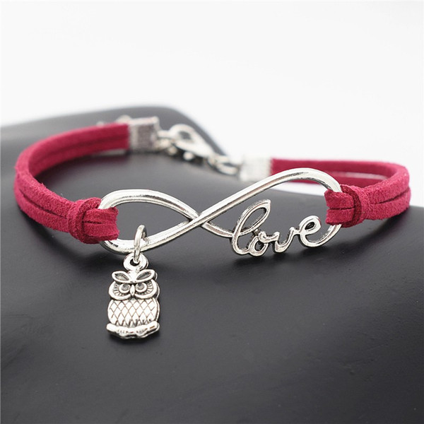 High quality fashion Infinity Love Cute Animal Owls Pendant bracelet & bangles charm rose red leather suede friendship men and women jewelry
