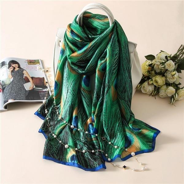 Fashion Spring and Summer Designer Silk Scarfs Women New Print Green Peacock Feathers Silk Foulard Scarf