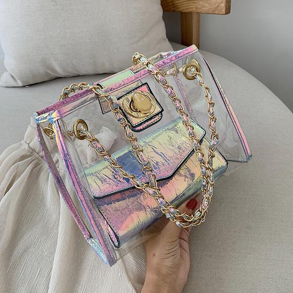 Лазерной Transparent путешествия Желе мешок 2019 лето Нового высокого качества ПВХ женщин дизайнера сумочка блокировка цепь плечо сумка
