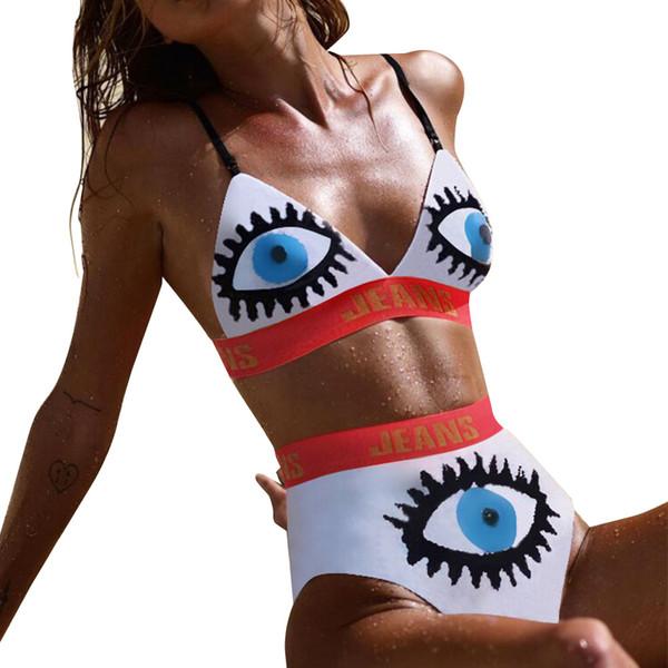 2019 Cute Pattern Printing Sexy Women Bikini Sets Two Pieces Spaghetti Swimsuits Hawaii Beach Holidays Bkini Swimwear White Pink Black