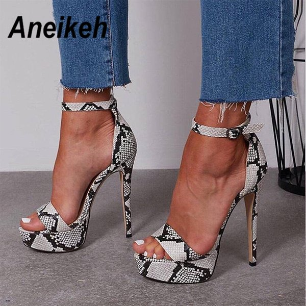 Aneikeh 2019 Serpentine Platform High Heels Sandals Summer Sexy Ankle Strap Open Toe Gladiator Party Dress Women Shoes Size 4- 9 MX190727