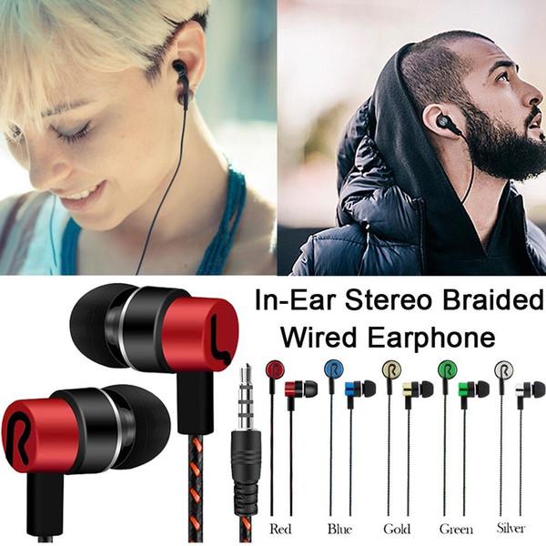 De moda en la oreja Estéreo Bajo Auriculares Auriculares Conector de 3,5 mm con cable de control HiFi Auriculares Auriculares Cable trenzado para móvil