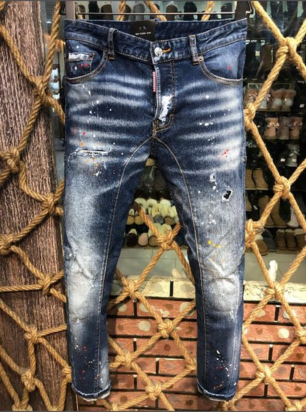 2018 European and American boutique fashion frosted holes embellished printed men's jeans size 44-54, free shipping - welcome to buy -