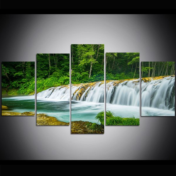 5 Piece Large Size Canvas Wall Art Waterfall Oil Painting Wall Art Pictures for Living Room Paintings Wall Decor