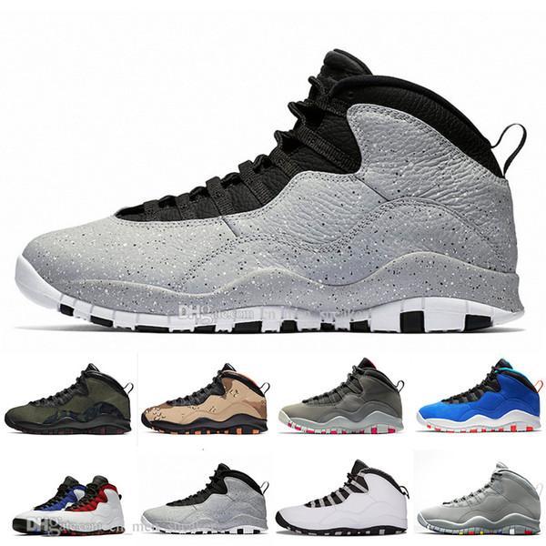 Мужские баскетбольные кроссовки 10 Desert Camo Tinker Cement 10s мужские кроссовки Серый Холодный серый Я вернулся Порошко-синий спортивный кроссовок размер 7-13