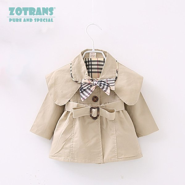 Newborn Baby Girls Coat Cool Jackets Autumn Infant Toddler Windbreaker Spring Kids Outerwear Children Coat with Belt 0-36M