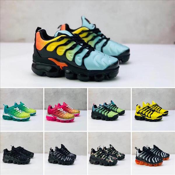 Big boy girls Shoes Kids TN Plus Running Shoes Classic Outdoor Run Shoes tn Black White Sport Shock Sneakers Olive Silver In Metallic